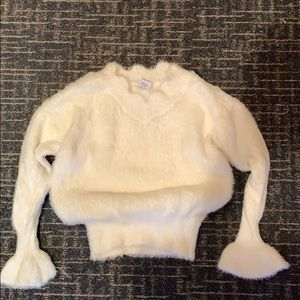 Sweaters - Main strip fluffy white sweater